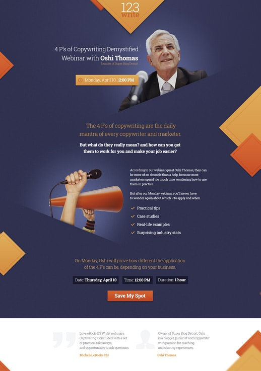 webinar invitation pages by getresponse