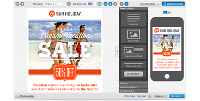 Sun Holiday email campaign